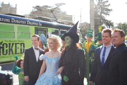 Edward Grey (Boq), Lucy Durack (Glinda), Jemma Rix (Elphaba), Steve Danielsen (Fiyero) and Glen Hogstrom (Dr. Dillamond)