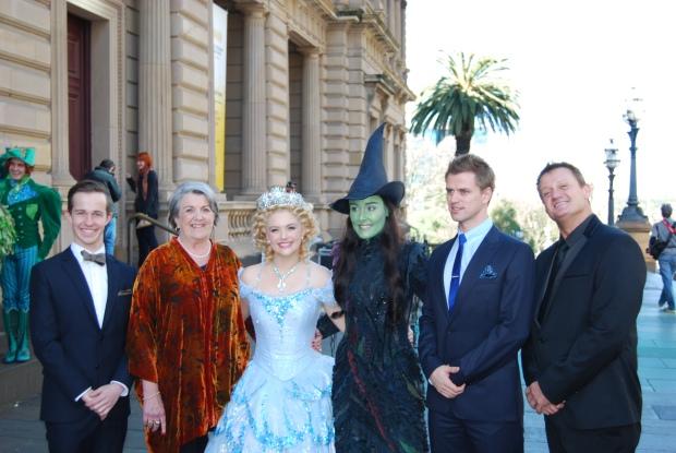 Edward Grey (Boq), Maggie Kirkpatrick (Madame Morrible), Lucy Duack (Glinda), Jemma Rix (Elphaba), Steve Danielsen (Fiyero) and Glen Hogstrom (Dr. Dillamond)