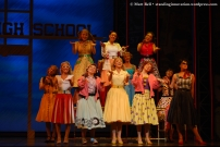 Karla Tonkich (Marty), Laura Murphy (Jan), Gretel Scarlett (Sandy), Francine Cain (Frenchy), Lucy Maunder (Rizzo) and the Female Ensemble