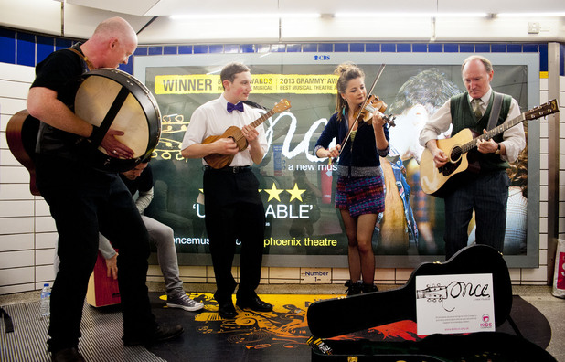 London Cast of Once Busking in the Underground